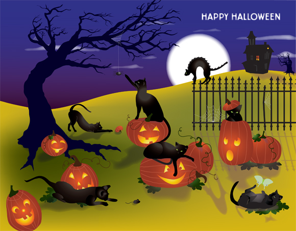 Cats and Pumpkins greeting card art - with Chris Lyons' cats