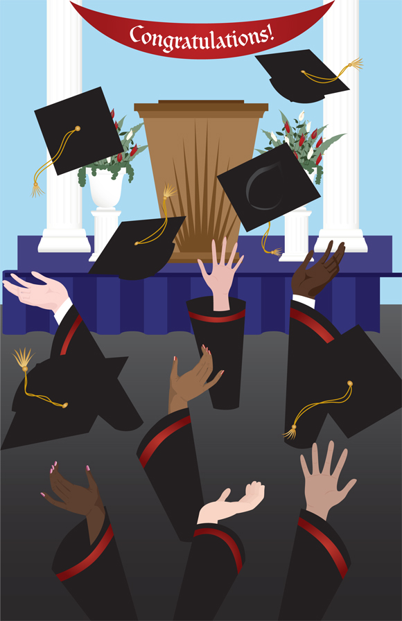 Grad Cap Toss greeting card art