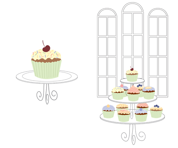Cupcakes imprintable stationery art