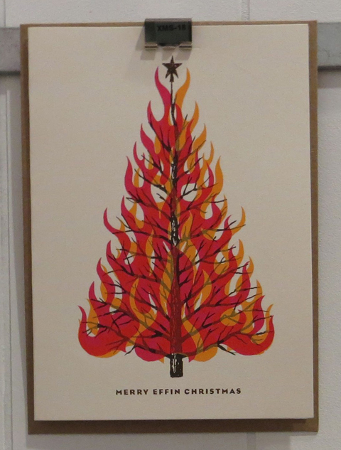 L2 Design Collective flaming Christmas tree card