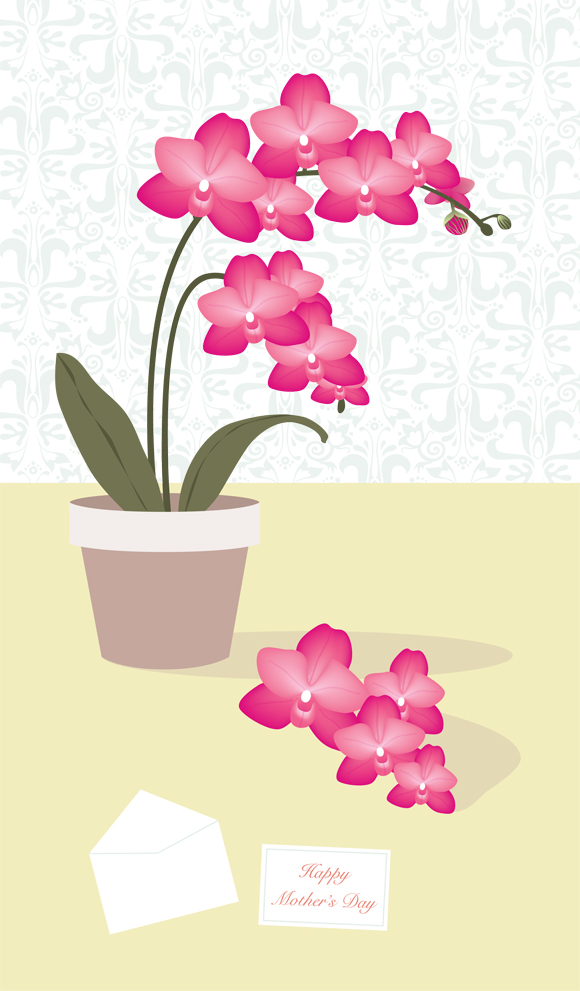 Orchid greeting card art