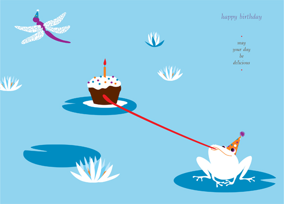 Frog Birthday greeting card illustration