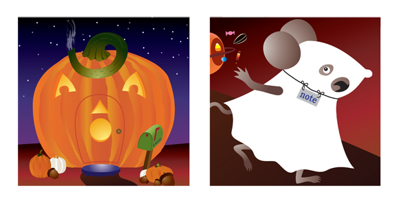 Pumpkin Mice greeting card cover and note