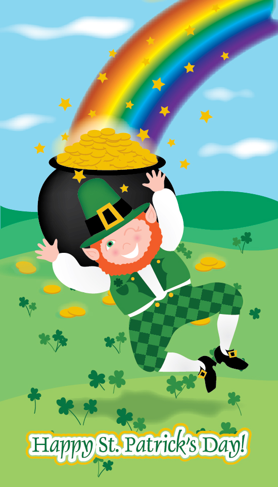 Leaping Leprechaun greeting card art