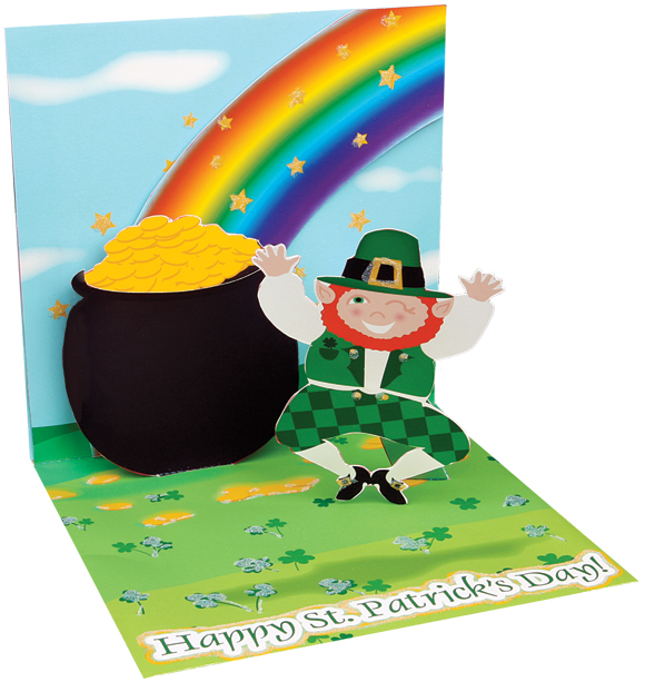 Leaping Leprechaun greeting card prototype