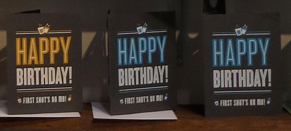 Fifty-Five Hi's shot glass birthday cards