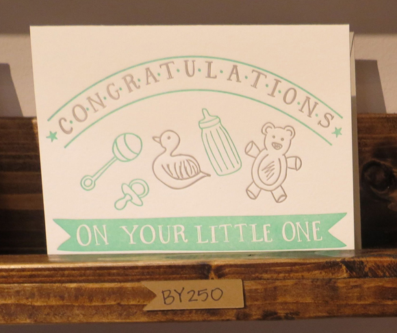 9th Letter Press new baby card