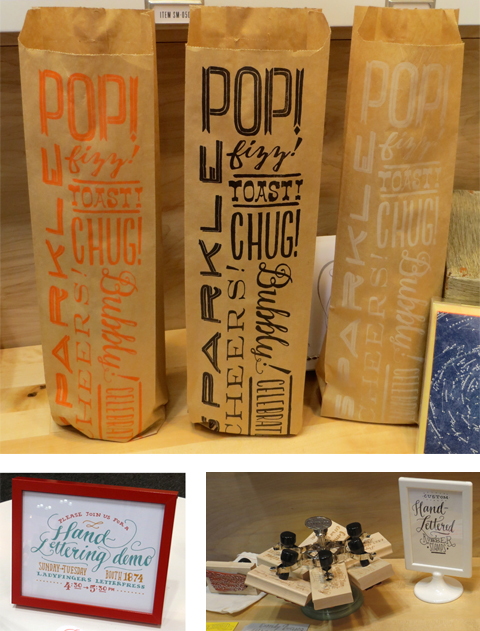 Clockwise from top - Ladyfingers Letterpress hand-lettered bags, stamps, and demo