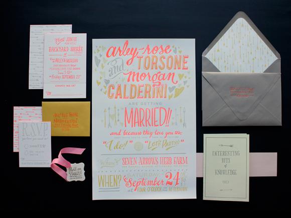 Ladyfingers Letterpress wedding invitation suite