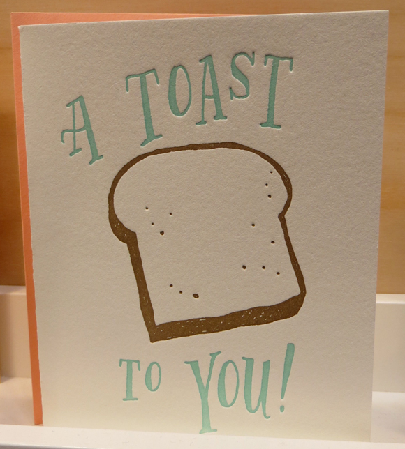 "Ladyfingers Letterpress ""A Toast to You"" card"