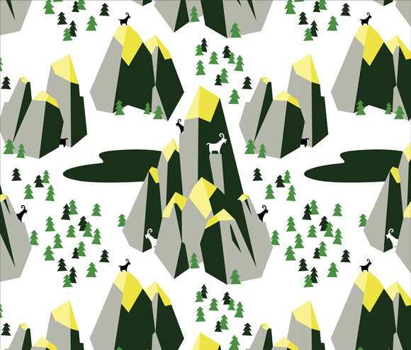 Mountain Goat Mountain repeat pattern