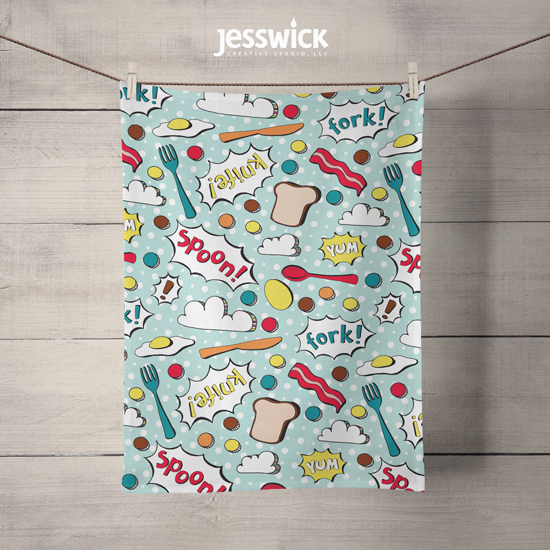 Pop Art Kitchen patterned dishtowel