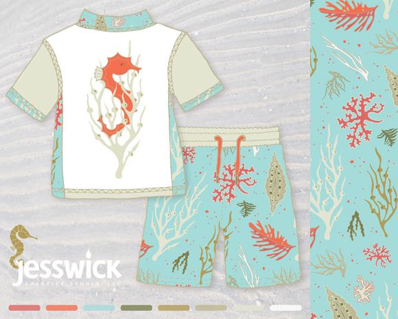 Seahorse and seaweed childrens' swim gear