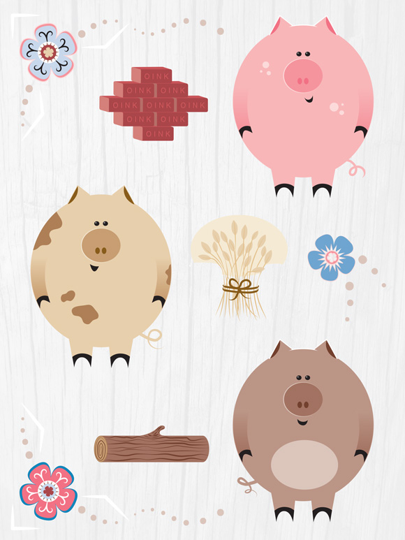 Three Little Pigs characters. © 2018 Jesswick Creative Studio, LLC.